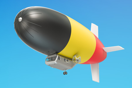 Airship or dirigible balloon with Belgian flag, 3D rendering