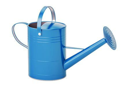 Blue watering can, 3D rendering isolated on white background Фото со стока - 81644157