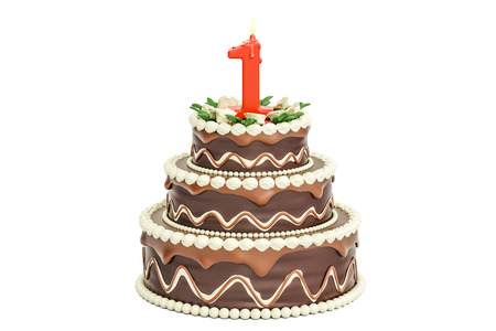 Chocolate Birthday cake with candle number 1, 3D rendering isolated on white background Stock Photo