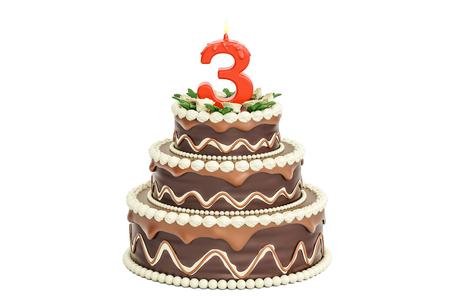 孤立した白い背景のレンダリング 3 D 3、ろうそくのチョコレートの誕生日ケーキ