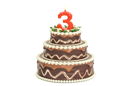 Chocolate Birthday cake with candle number 3, 3D rendering isolated on white background