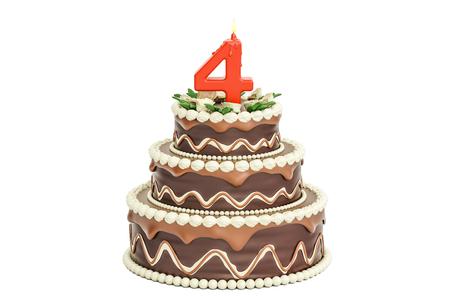 キャンドル数 4、3 D に分離の白い背景を描画でのチョコレートの誕生日ケーキ