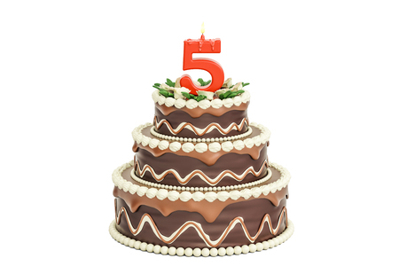 Chocolate Birthday cake with candle number 5, 3D rendering isolated on white background