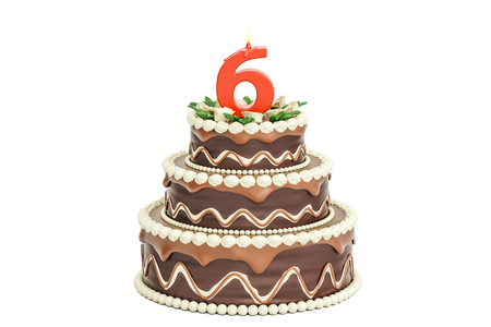 6th: Chocolate Birthday cake with candle number 6, 3D rendering isolated on white background