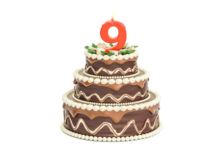 Chocolate Birthday cake with candle number 9, 3D rendering isolated on white background Stock Photo
