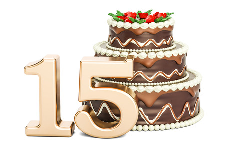 fifteen: Chocolate Birthday cake with golden number 15, 3D rendering isolated on white background