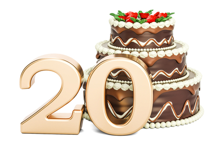 20th: Chocolate Birthday cake with golden number 20, 3D rendering isolated on white background Stock Photo