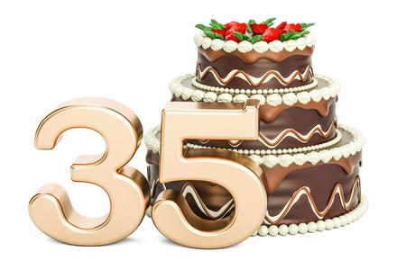 黄金数 35、3 D の分離の白い背景を描画でのチョコレートの誕生日ケーキ