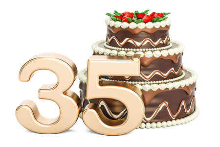 Chocolate Birthday cake with golden number 35, 3D rendering isolated on white background