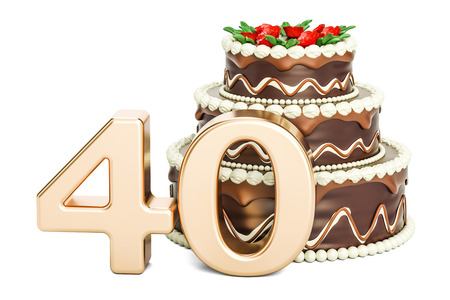 Chocolate Birthday cake with golden number 40, 3D rendering isolated on white background