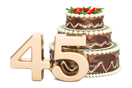 45th: Chocolate Birthday cake with golden number 45, 3D rendering isolated on white background Stock Photo