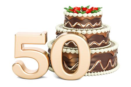 黄金数 50、3 D の分離の白い背景を描画でのチョコレートの誕生日ケーキ