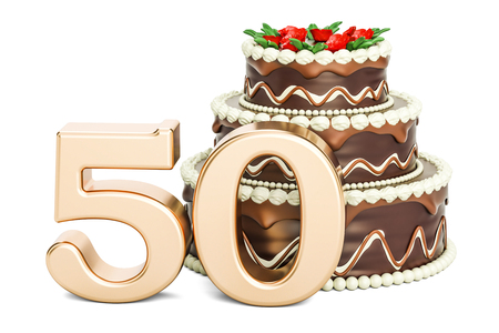 Chocolate Birthday cake with golden number 50, 3D rendering isolated on white background Standard-Bild