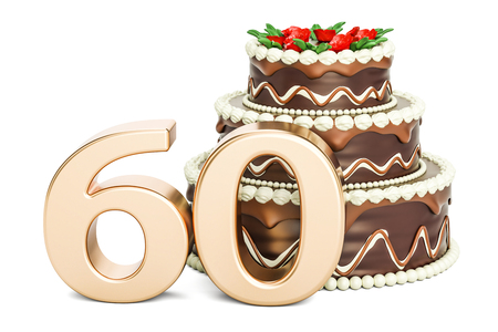 Chocolate Birthday cake with golden number 60, 3D rendering isolated on white background