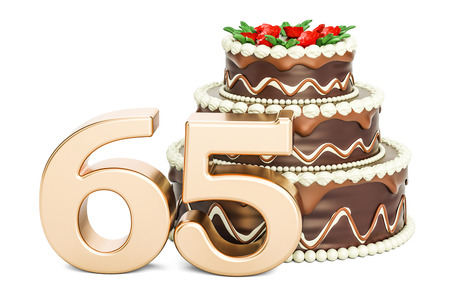 Chocolate Birthday cake with golden number 65, 3D rendering isolated on white background Stock Photo