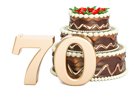 Chocolate Birthday cake with golden number 70, 3D rendering isolated on white background Stock Photo