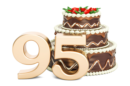 95: Chocolate Birthday cake with golden number 95, 3D rendering isolated on white background