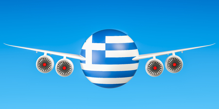 Greek airlines and flyings, flights to Greece concept. 3D rendering