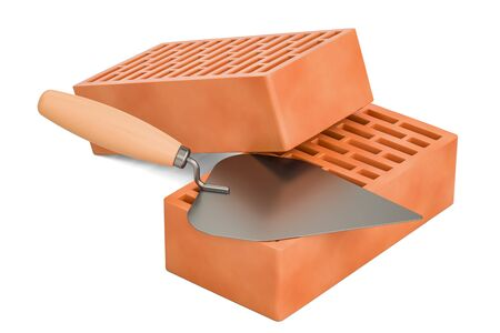 masonry trowel with bricks, construction concept. 3D rendering isolated on white background
