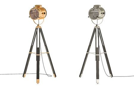 set of retro spotlights on tripods, 3D rendering isolated on white background Stock Photo