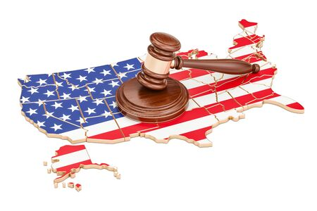 Wooden Gavel on map of USA, 3D rendering isolated on white background