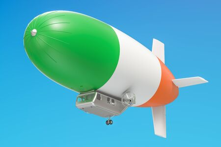 Airship or dirigible balloon with Irish flag, 3D rendering