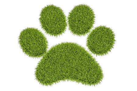 Animal green grass footprint, 3D rendering isolated on white background