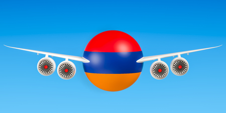 Armenian airlines and flyings, flights to Armenia concept. 3D rendering Stock Photo