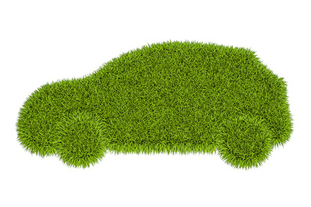 car silhouette from green grass, 3D rendering isolated on white background Stock Photo