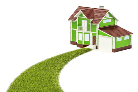 Ecological house concept, green grassy way to home. 3D rendering isolated on white background