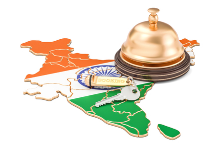 India booking concept. Indian flag with hotel key and reception bell, 3D rendering