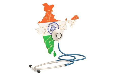 Indian map with stethoscope, national health care concept, 3D rendering Stock Photo