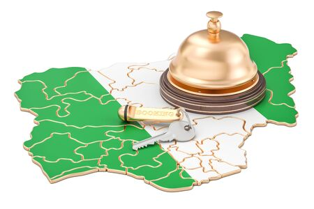 Nigeria booking concept. Nigerian flag with hotel key and reception bell, 3D rendering