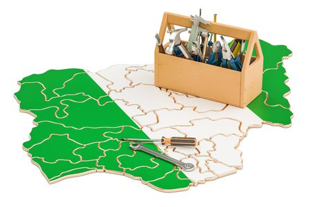 map toolkit: Service and repair in Nigeria concept, 3D rendering