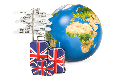 liverpool: United Kingdom travel concept. Suitcases with British flag, signpost and Earth globe. 3D rendering Stock Photo