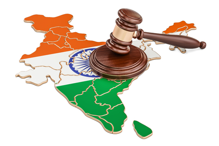 Wooden Gavel on map of India, 3D rendering isolated on white background