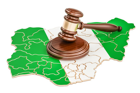 Wooden Gavel on map of Nigeria, 3D rendering isolated on white background