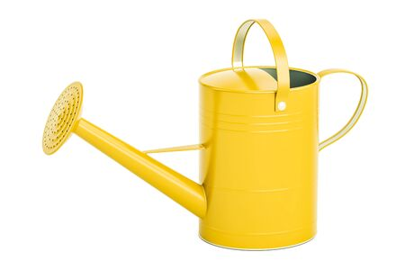 Yellow watering can, 3D rendering isolated on white background Фото со стока - 81761431