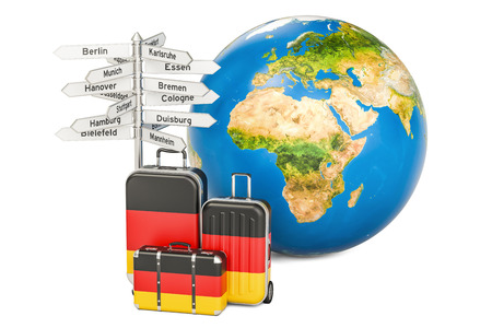 guidepost: Germany travel concept. Suitcases with German flag, signpost and Earth globe. 3D rendering