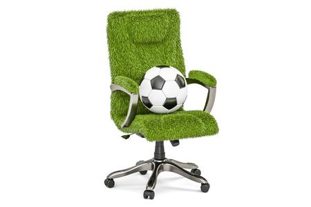 FootballRendu De Grassy Bureau Chaise Sur Isolé Ballon Fond Avec 3d Concept Blanc PkXZiu