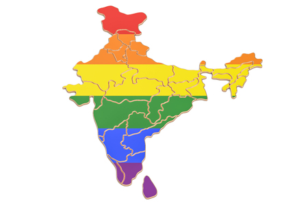 Indian map with LGBT flag, 3D rendering