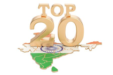 Indian Top 20 concept, 3D rendering isolated on white background