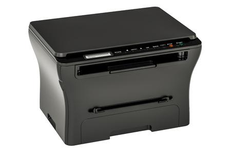 modern black office multifunction printer MFP, 3D rendering isolated on white background Stock Photo