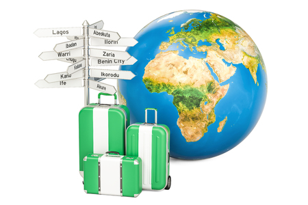 country nigeria: Nigeria travel concept. Suitcases with Nigerian flag, signpost and Earth globe. 3D rendering