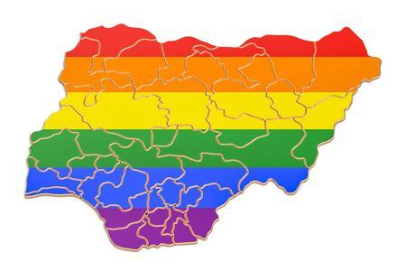 Nigerian map with LGBT flag, 3D rendering