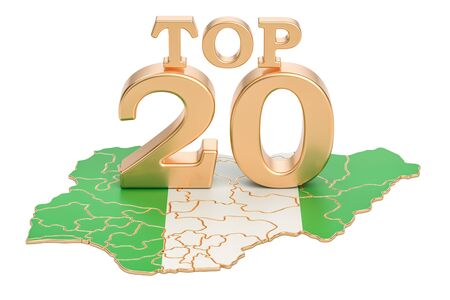 Nigerian Top 20 concept, 3D rendering isolated on white background
