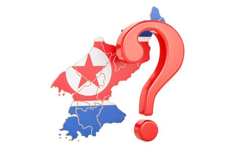 North Korea Question concept, 3D rendering isolated on white background