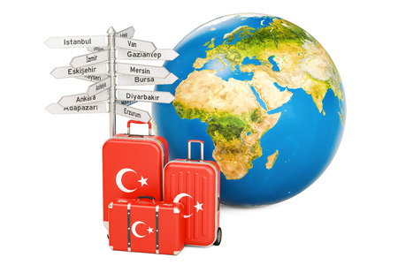 Turkey travel concept. Suitcases with Turkish flag, signpost and Earth globe. 3D rendering Stock Photo