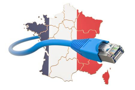 Internet connection in France concept. 3D rendering isolated on white background