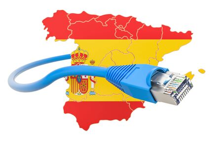 networking cables: Internet service provider in Spain concept, 3D rendering isolated on white background